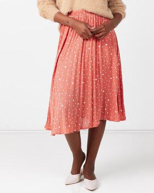 Utopia Spot Pleated Skirt Red/White