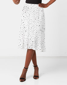 Utopia Spot Pleated Skirt White/Black