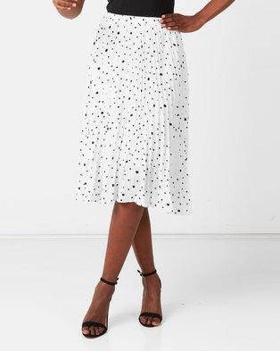 Utopia Spot Pleated Skirt White/Black