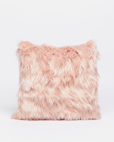 Grey Gardens Faux Fur Scatter Cushion Pink