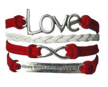Urban Charm Love Infinity Bracelet - Red/White