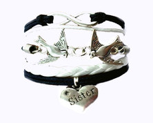Urban Charm Infinity Bracelet with sister engraved heart birds and infinity charm - White and Black