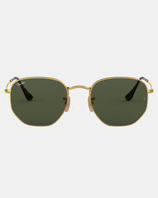 Ray-Ban Hexagonal Flat Lense Sunglasses Gold