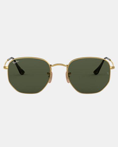 Ray-Ban Hexagonal Flat Lense Sunglasses Gold