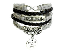 Urban Charm Believe In Love Infinity Bracelet - Black & Grey