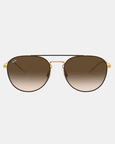 Ray-Ban RB3589 Gold Top On  Sunglasses Brown