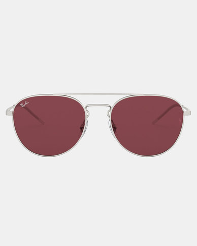 Ray-Ban RB3589 Rubber Silver Sunglasses Dark Violet