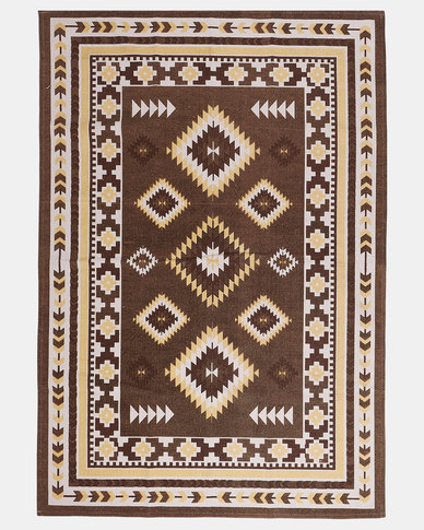 Utopia Aztec Print Rug Brown