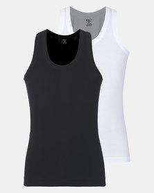 K-Star 7 Black & White 2 Pack Rib Vest