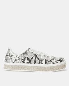 Sissy Boy Duchess Sneaker With Bling Sole White/Black