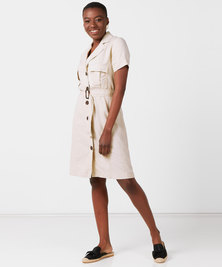 Utopia Linen Belted Utility Dress Stone