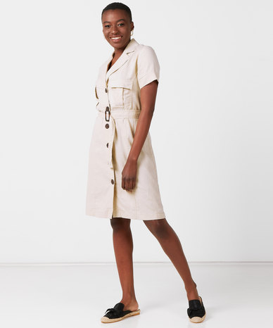 Utopia Linen Belted Utility Dress Stone