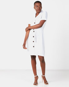 Utopia Linen Belted Utility Dress White