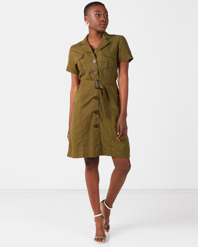Utopia Linen Belted Utility Dress Olive