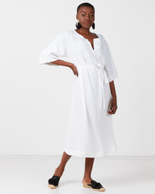 Utopia 3/4 Sleeve Linen Dress White