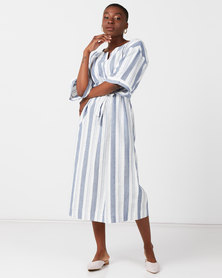 Utopia 3/4 Sleeve Linen Dress Blue/Stone