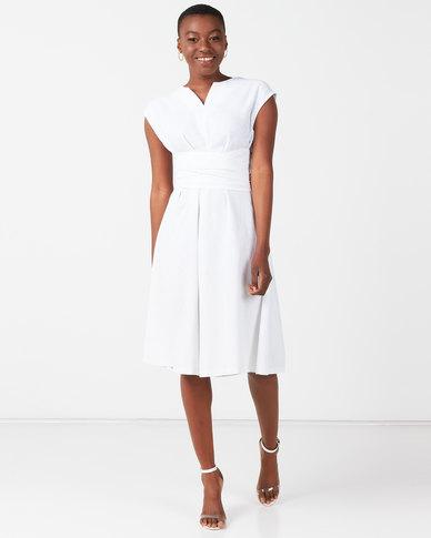 Utopia Tie Front Linen Dress White