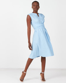Utopia Tie Front Linen Dress Sky Blue