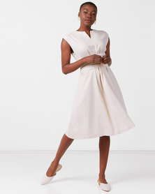 Utopia Tie Front Linen Dress Stone