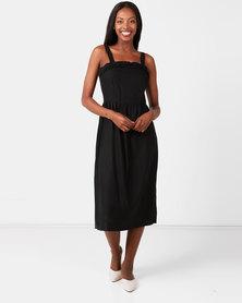 Utopia Linen Pinafore Dress Black