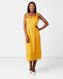 Utopia Linen Pinafore Dress Mustard