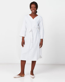 Utopia Linen Tunic Dress With Self Belt White