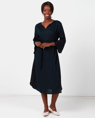 Utopia Linen Tunic Dress With Self Belt Navy