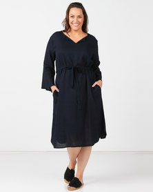 Utopia Plus Navy Linen Tunic Dress With Self Belt