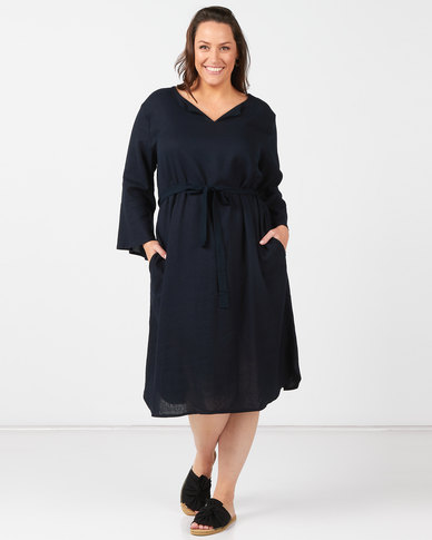 Utopia Plus Navy Linen Tunic Dress With Self Belt