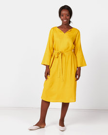 Utopia Linen Tunic Dress With Self Belt Mustard