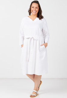 Utopia Plus White Linen Tunic Dress With Self Belt