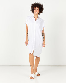 Utopia Linen Shirt Dress White