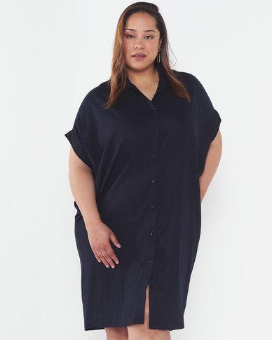 Utopia Plus Linen Shirt Dress Navy