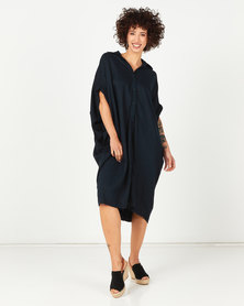 Utopia Linen Shirt Dress Navy