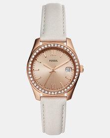 Fossil Scarlette Leather Watch Grey