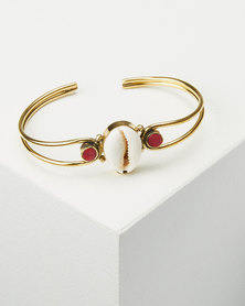 Joy Collectables Cowry Red Shell Bangle Gold-tone