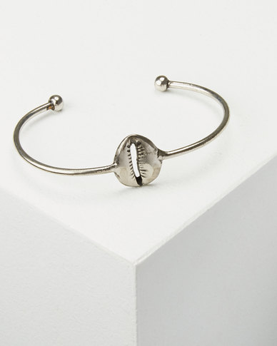 Joy Collectables Cowry Shell Bangle Silver-tone