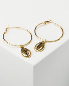 Joy Collectables Cowry Hoop Earrings Gold-tone