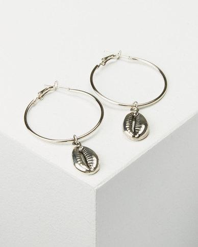 Joy Collectables Cowry Hoop Earrings Silver-tone