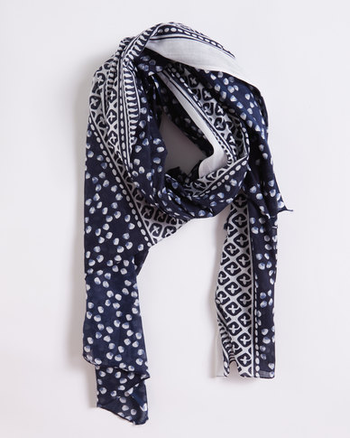 Joy Collectables Patterned Light Scarf Blue