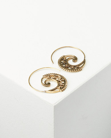 Joy Collectables Starry Spiral Earrings Gold