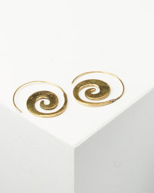 Joy Collectables Plain Spiral Earrings Gold