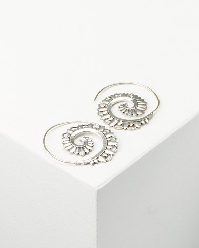 Joy Collectables Patterned Spiral Earrings Silver