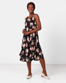 Utopia Floral A-line Dress Black