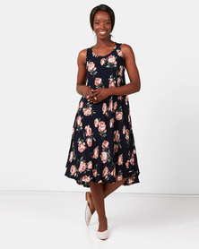 Utopia Floral A-line Dress Navy