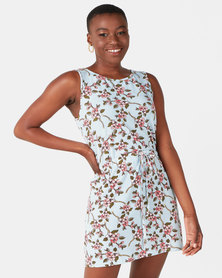 Utopia Floral Tunic Dress Light Blue