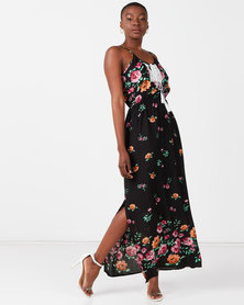 Utopia Border Print Maxi Dress Black