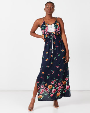 Utopia Border Print Maxi Dress Navy