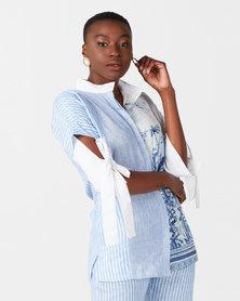 Judith Atelier Mila Combo Linen Blouse Blue