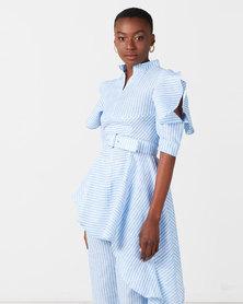 Judith Atelier Zarie Stripe Asymmetrical Blouse Blue